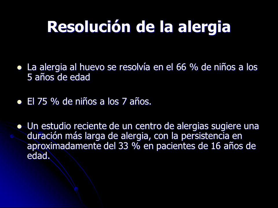 Resolución de la alergia La alergia al huevo se resolvía en el 66 % de niños a los 5 años de edad La alergia al huevo se resolvía en el 66 % de niños a los 5 años de edad El 75 % de niños a los 7 años.