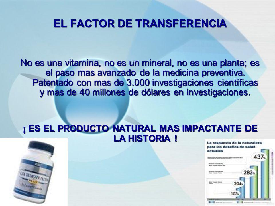 EL FACTOR DE TRANSFERENCIA No es una vitamina, no es un mineral, no es una planta; es el paso mas avanzado de la medicina preventiva.