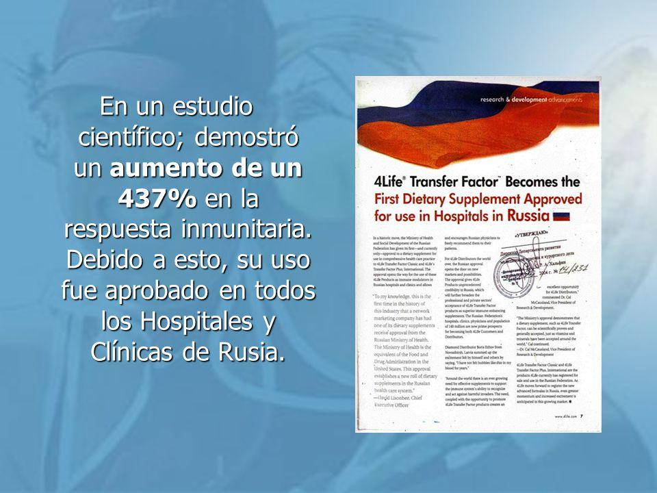 En un estudio científico; demostró un aumento de un 437% en la respuesta inmunitaria.
