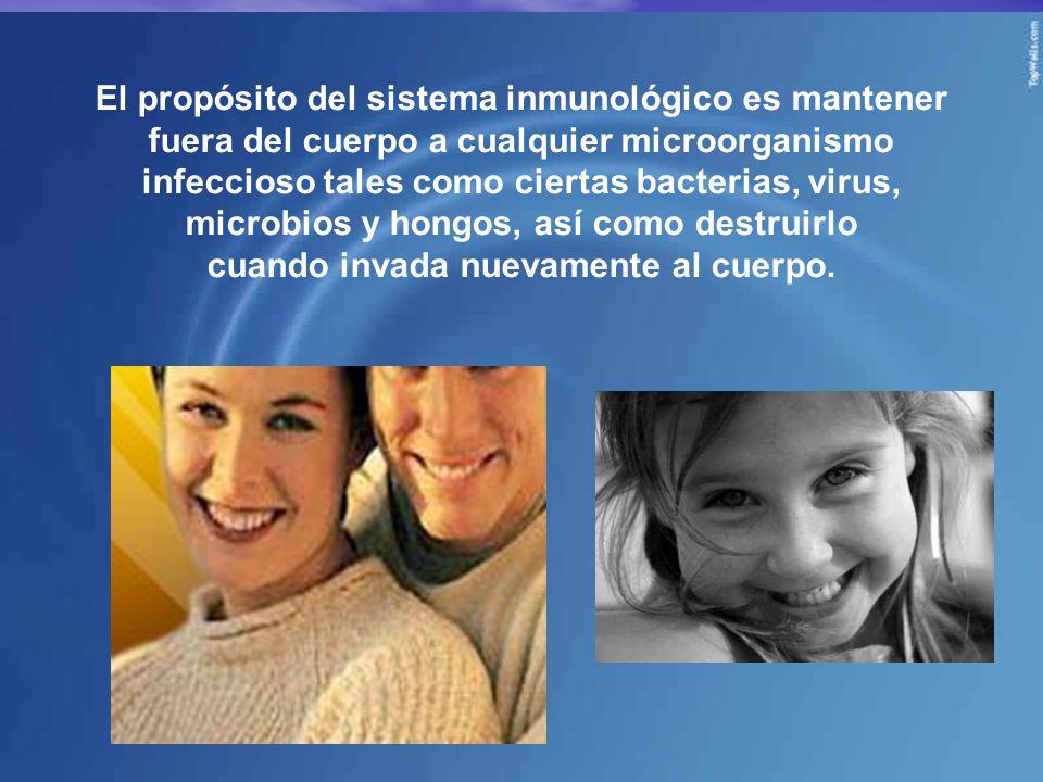 El propósito del sistema inmunológico es mantener fuera del cuerpo a cualquier microorganismo infeccioso tales como ciertas bacterias, virus, microbios y hongos, así como destruirlo cuando invada nuevamente al cuerpo.