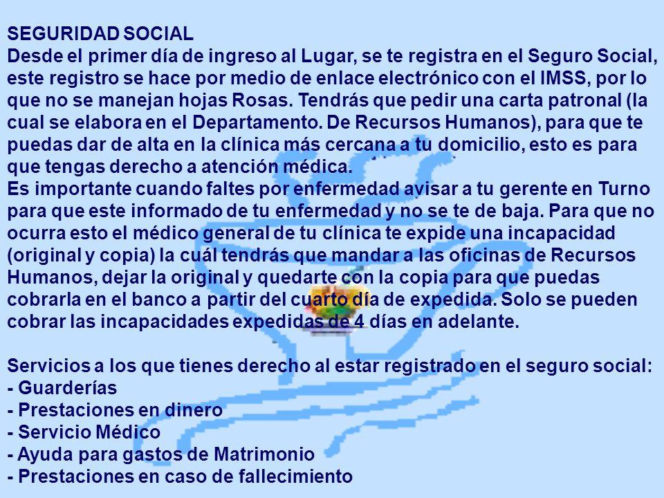 SEGURIDAD SOCIAL Desde el primer día de ingreso al Lugar, se te registra en el Seguro Social, este registro se hace por medio de enlace electrónico co