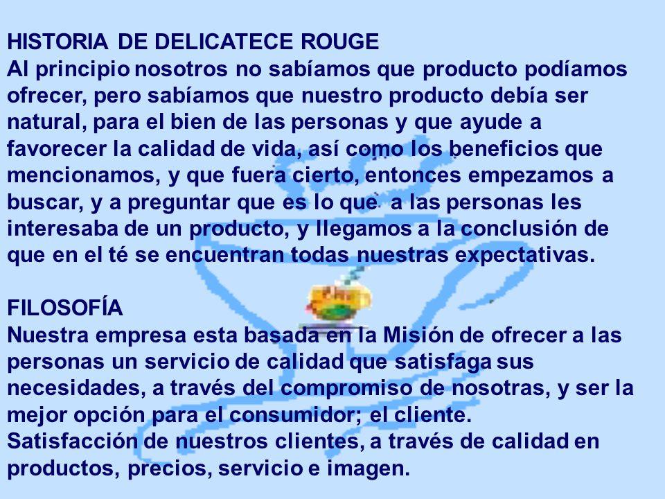 HISTORIA DE DELICATECE ROUGE Al principio nosotros no sabíamos que producto podíamos ofrecer, pero sabíamos que nuestro producto debía ser natural, pa