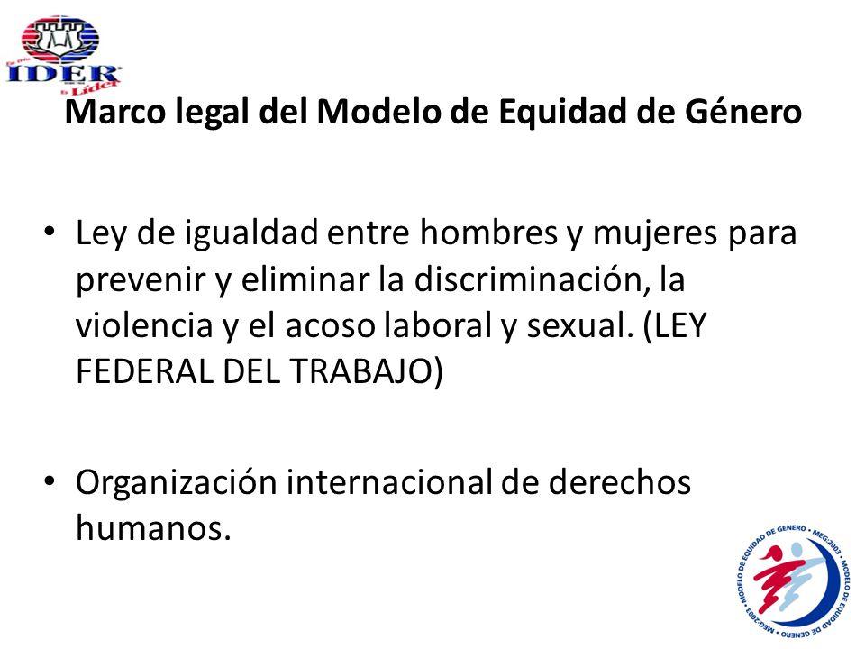 Marco legal del Modelo de Equidad de Género Ley de igualdad entre hombres y mujeres para prevenir y eliminar la discriminación, la violencia y el acoso laboral y sexual.