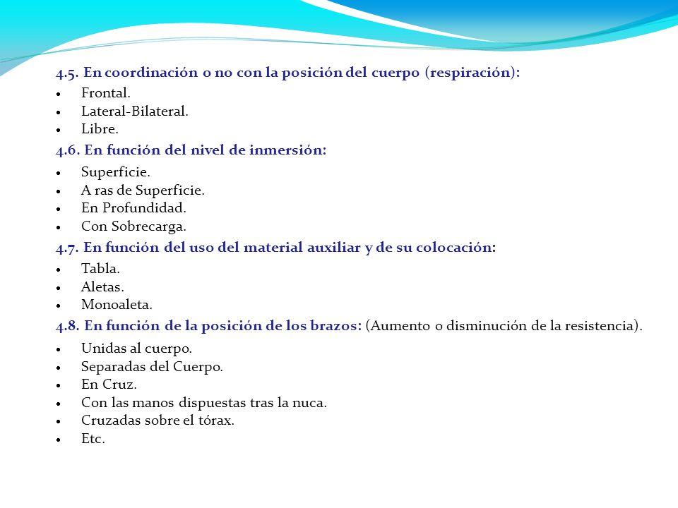 4.5. En coordinación o no con la posición del cuerpo (respiración):  Frontal.  Lateral-Bilateral.  Libre. 4.6. En función del nivel de inmersión: 