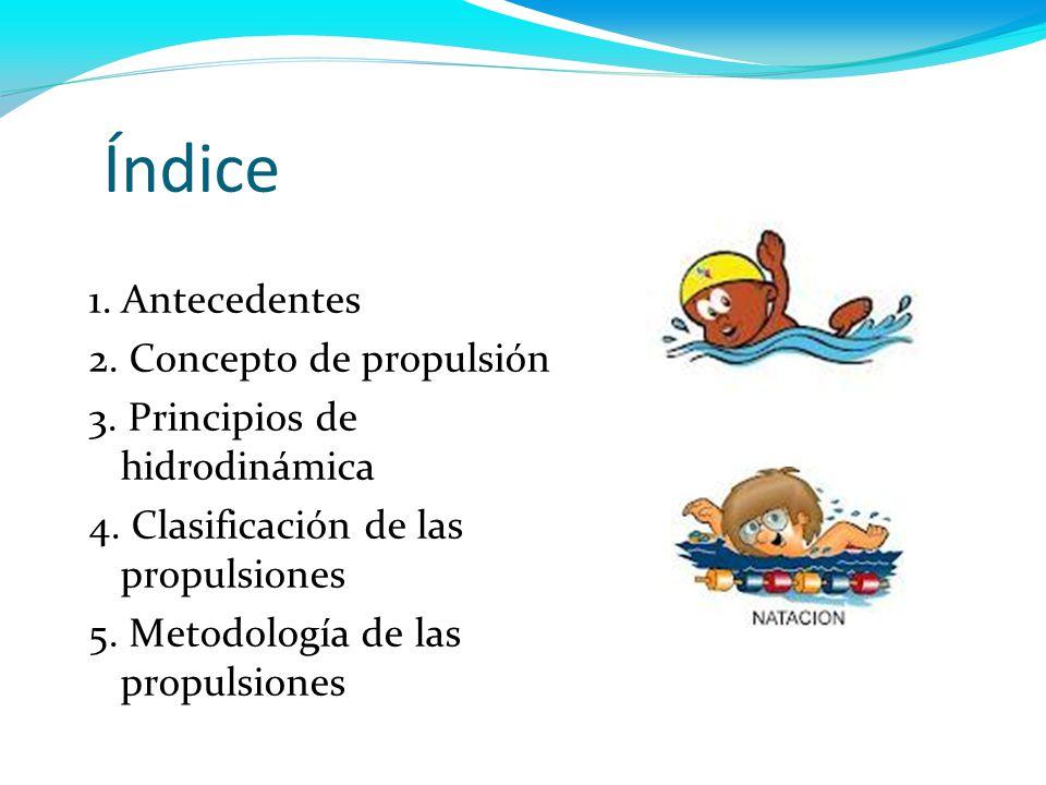 1. Antecedentes 2. Concepto de propulsión 3. Principios de hidrodinámica 4. Clasificación de las propulsiones 5. Metodología de las propulsiones Índic