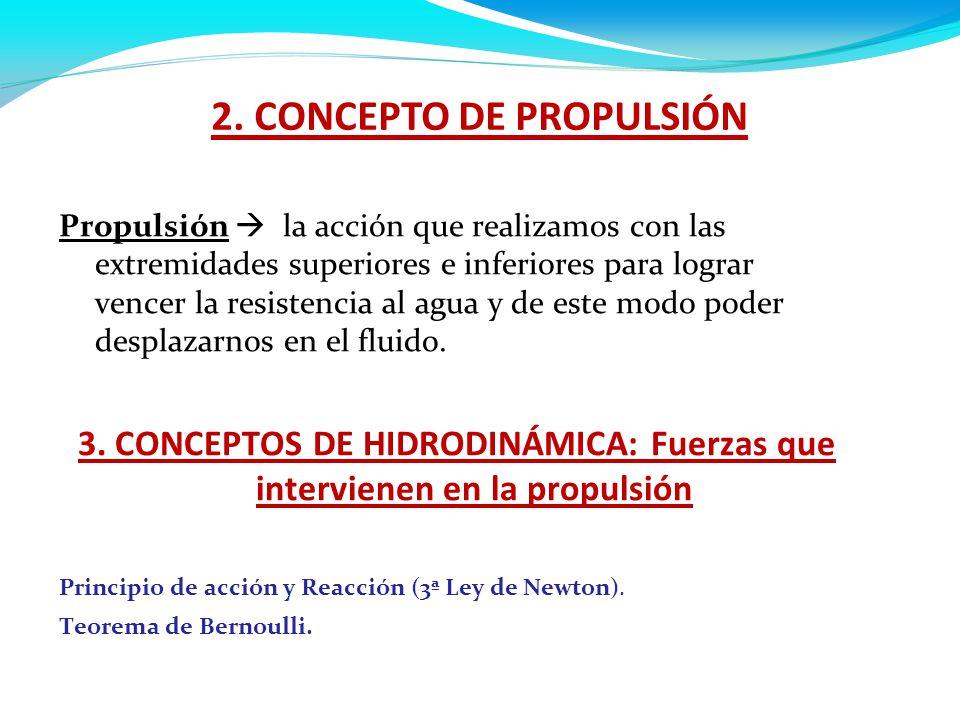 2. CONCEPTO DE PROPULSIÓN propulsión a la acción que realizamos con las extremidades superiores e inferiores para lograr vencer la resistencia al agua