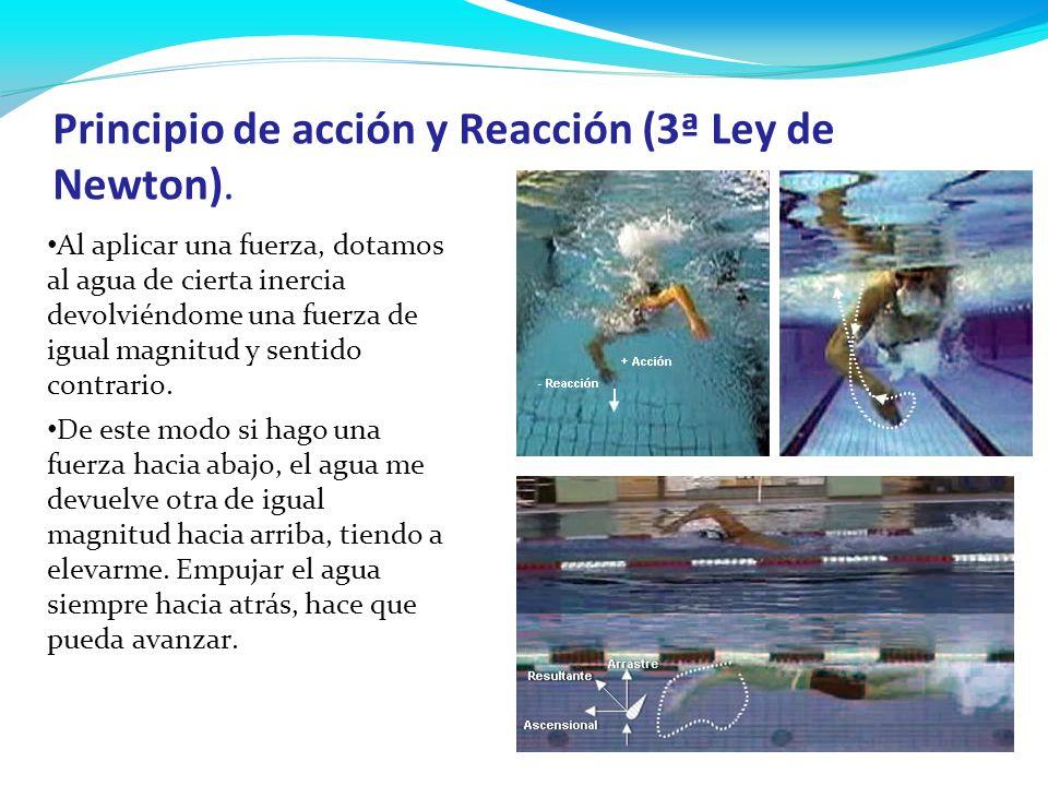 Principio de acción y Reacción (3ª Ley de Newton). Al aplicar una fuerza, dotamos al agua de cierta inercia devolviéndome una fuerza de igual magnitud
