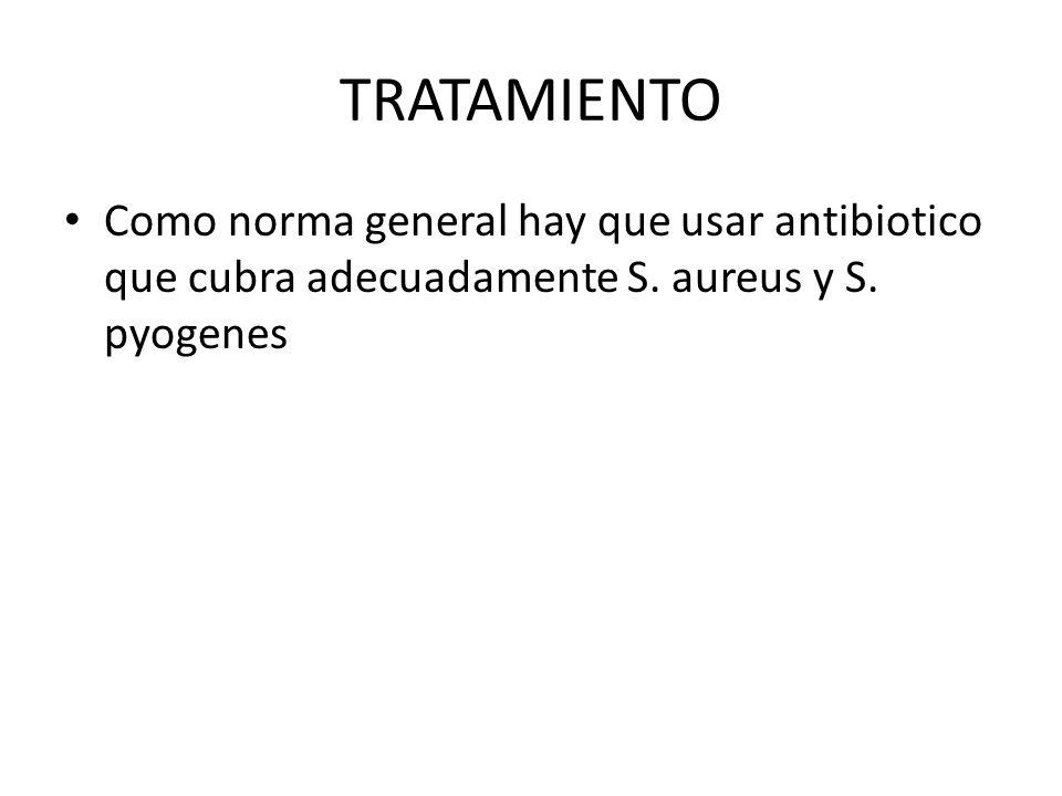 TRATAMIENTO Como norma general hay que usar antibiotico que cubra adecuadamente S. aureus y S. pyogenes