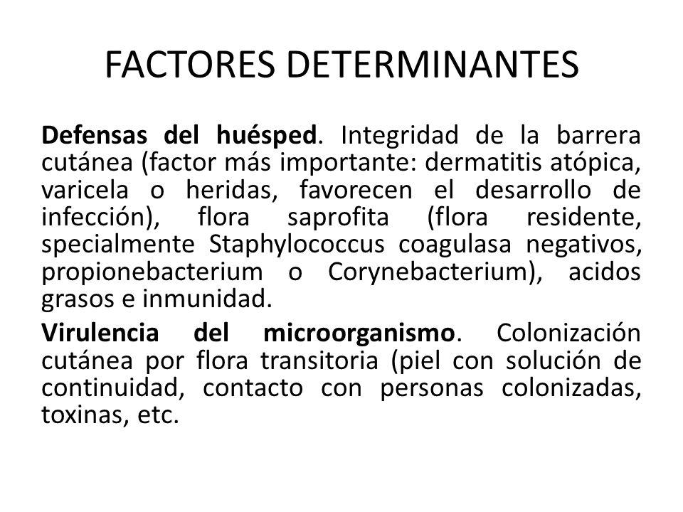 FACTORES DETERMINANTES Defensas del huésped. Integridad de la barrera cutánea (factor más importante: dermatitis atópica, varicela o heridas, favorece