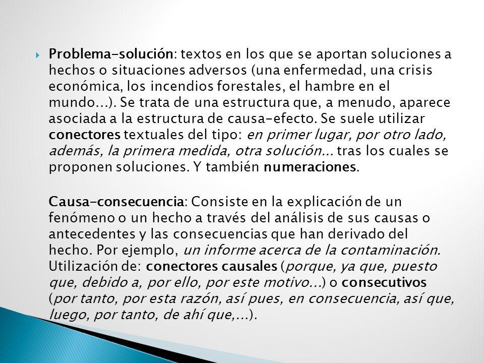  Problema-solución: textos en los que se aportan soluciones a hechos o situaciones adversos (una enfermedad, una crisis económica, los incendios forestales, el hambre en el mundo...).