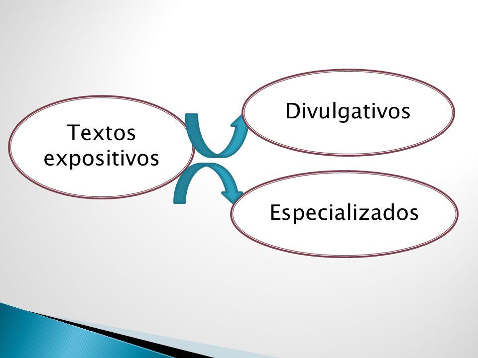 Textos expositivos Especializados Divulgativos