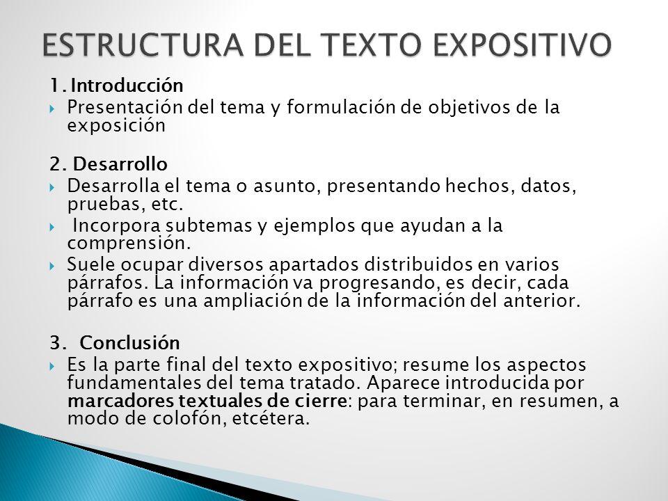 1.Introducción  Presentación del tema y formulación de objetivos de la exposición 2.