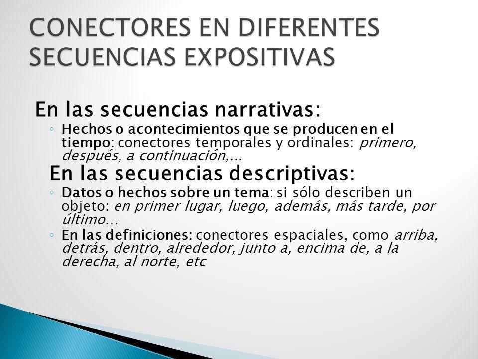 En las secuencias narrativas: ◦ Hechos o acontecimientos que se producen en el tiempo: conectores temporales y ordinales: primero, después, a continuación,...