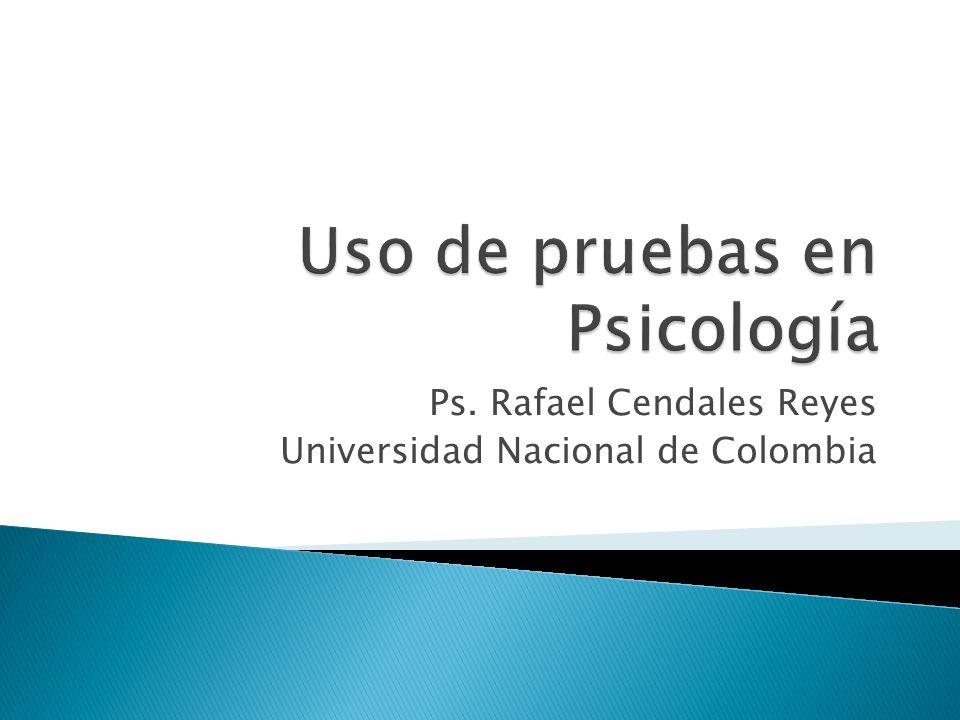 Ps. Rafael Cendales Reyes Universidad Nacional de Colombia