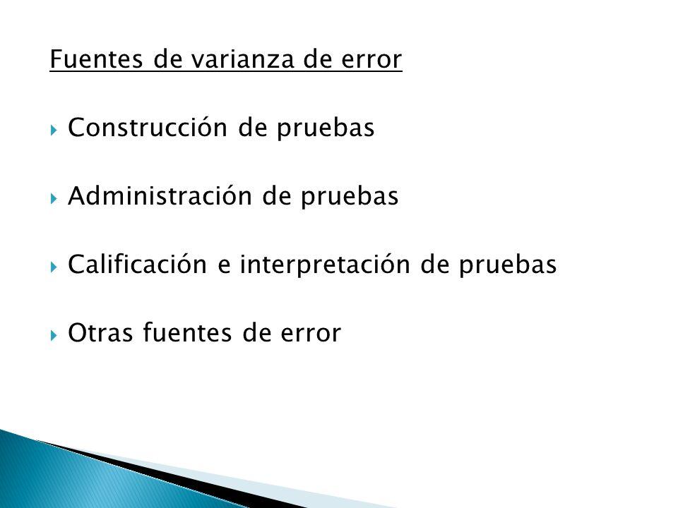 Fuentes de varianza de error  Construcción de pruebas  Administración de pruebas  Calificación e interpretación de pruebas  Otras fuentes de error