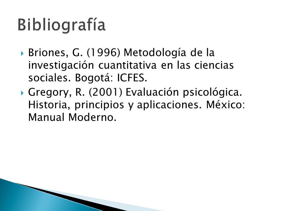  Briones, G. (1996) Metodología de la investigación cuantitativa en las ciencias sociales. Bogotá: ICFES.  Gregory, R. (2001) Evaluación psicológica