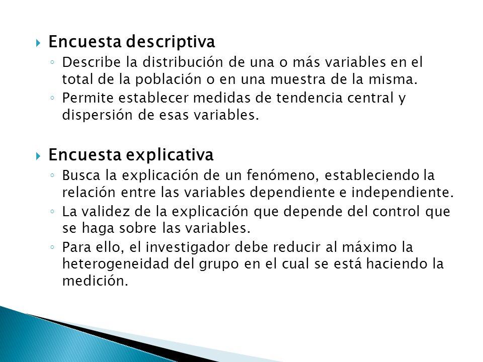  Encuesta descriptiva ◦ Describe la distribución de una o más variables en el total de la población o en una muestra de la misma. ◦ Permite establece