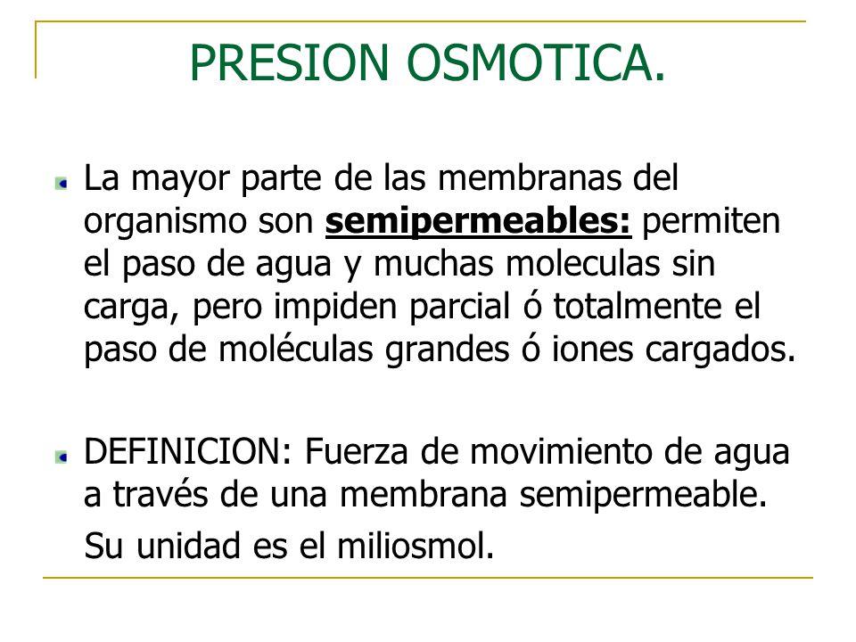 PRESION OSMOTICA. La mayor parte de las membranas del organismo son semipermeables: permiten el paso de agua y muchas moleculas sin carga, pero impide