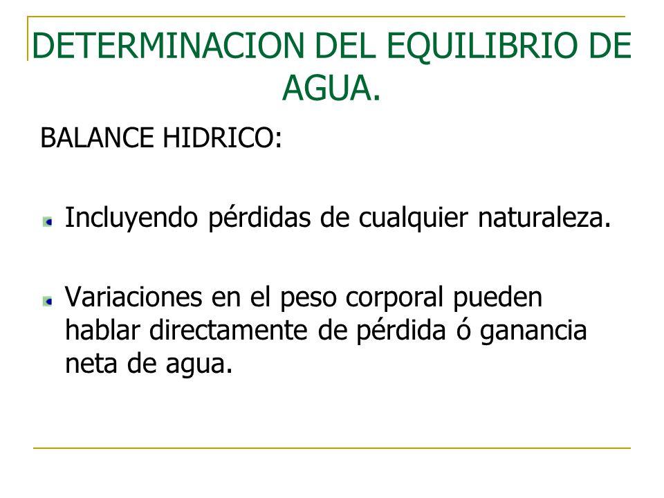 DETERMINACION DEL EQUILIBRIO DE AGUA. BALANCE HIDRICO: Incluyendo pérdidas de cualquier naturaleza. Variaciones en el peso corporal pueden hablar dire