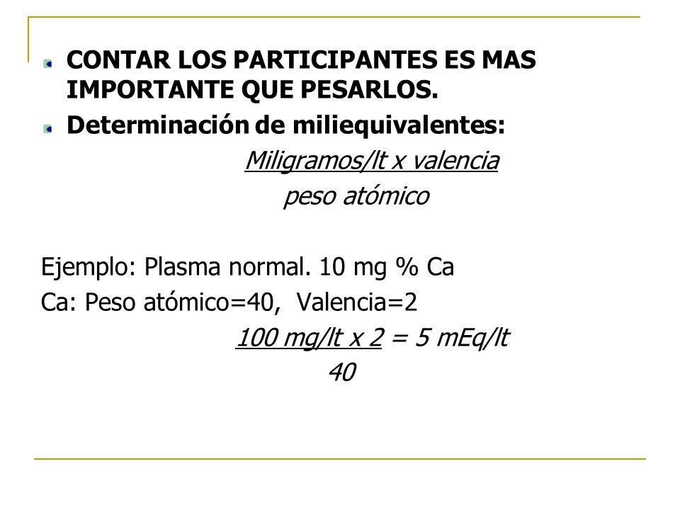 CONTAR LOS PARTICIPANTES ES MAS IMPORTANTE QUE PESARLOS. Determinación de miliequivalentes: Miligramos/lt x valencia peso atómico Ejemplo: Plasma norm