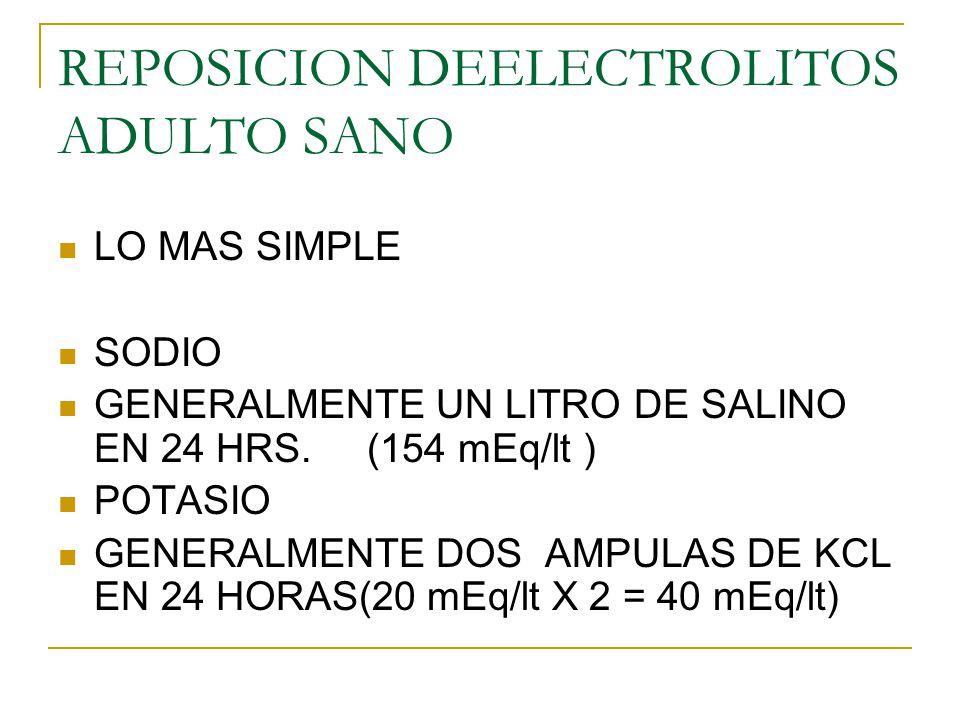 REPOSICION DEELECTROLITOS ADULTO SANO LO MAS SIMPLE SODIO GENERALMENTE UN LITRO DE SALINO EN 24 HRS. (154 mEq/lt ) POTASIO GENERALMENTE DOS AMPULAS DE