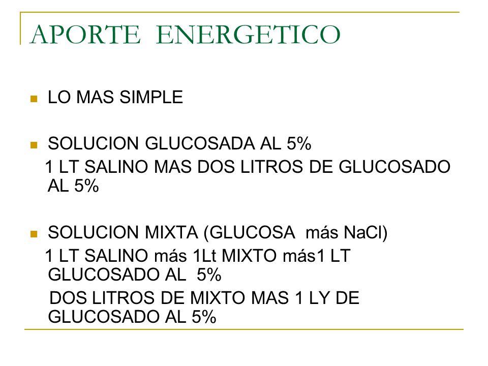 APORTE ENERGETICO LO MAS SIMPLE SOLUCION GLUCOSADA AL 5% 1 LT SALINO MAS DOS LITROS DE GLUCOSADO AL 5% SOLUCION MIXTA (GLUCOSA más NaCl) 1 LT SALINO m