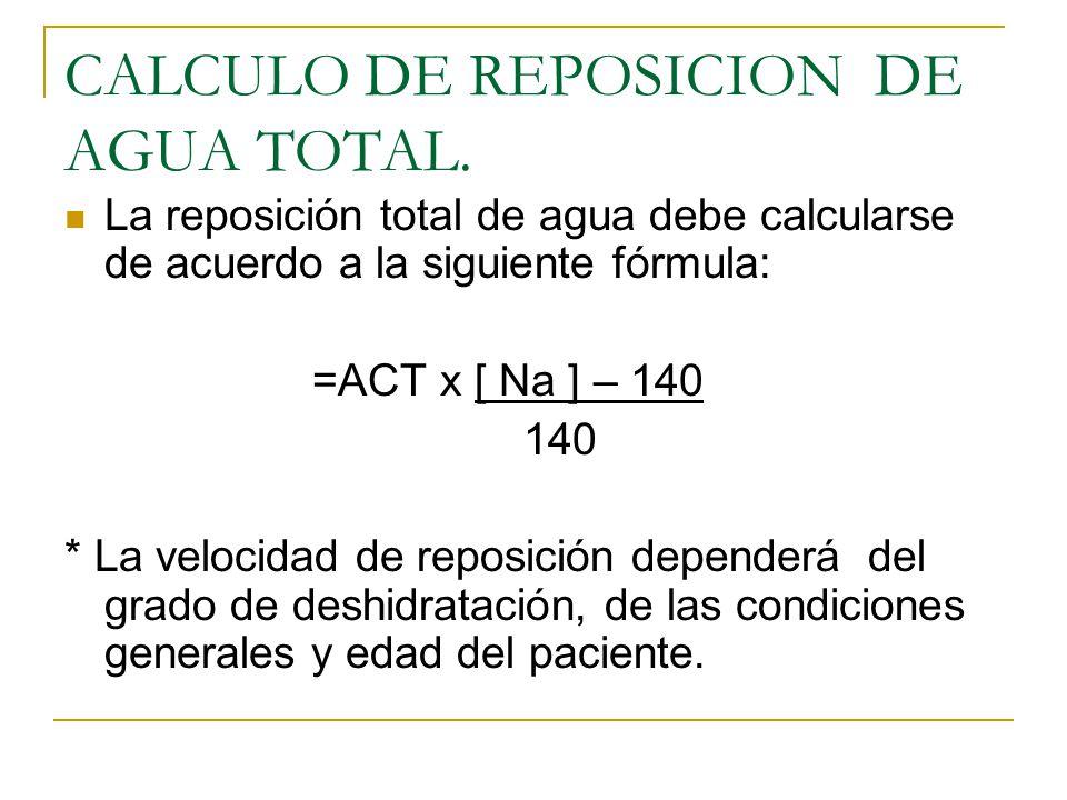CALCULO DE REPOSICION DE AGUA TOTAL. La reposición total de agua debe calcularse de acuerdo a la siguiente fórmula: =ACT x [ Na ] – 140 140 * La veloc