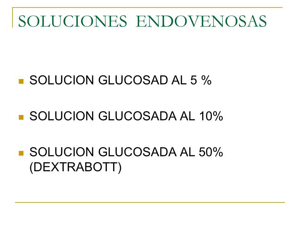 SOLUCIONES ENDOVENOSAS SOLUCION GLUCOSAD AL 5 % SOLUCION GLUCOSADA AL 10% SOLUCION GLUCOSADA AL 50% (DEXTRABOTT)