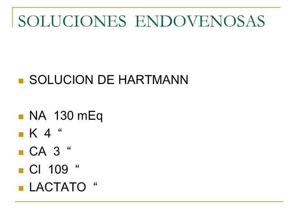 SOLUCIONES ENDOVENOSAS SOLUCION SALINA AL.9% DE Na Cl SOLUCION MIXTA AL 5 % AL 10% 154 mEq/lt de NaCl más 50 gramos de glucosa 154 mEq/lt deNa Clmás 100 gramos de glucosa
