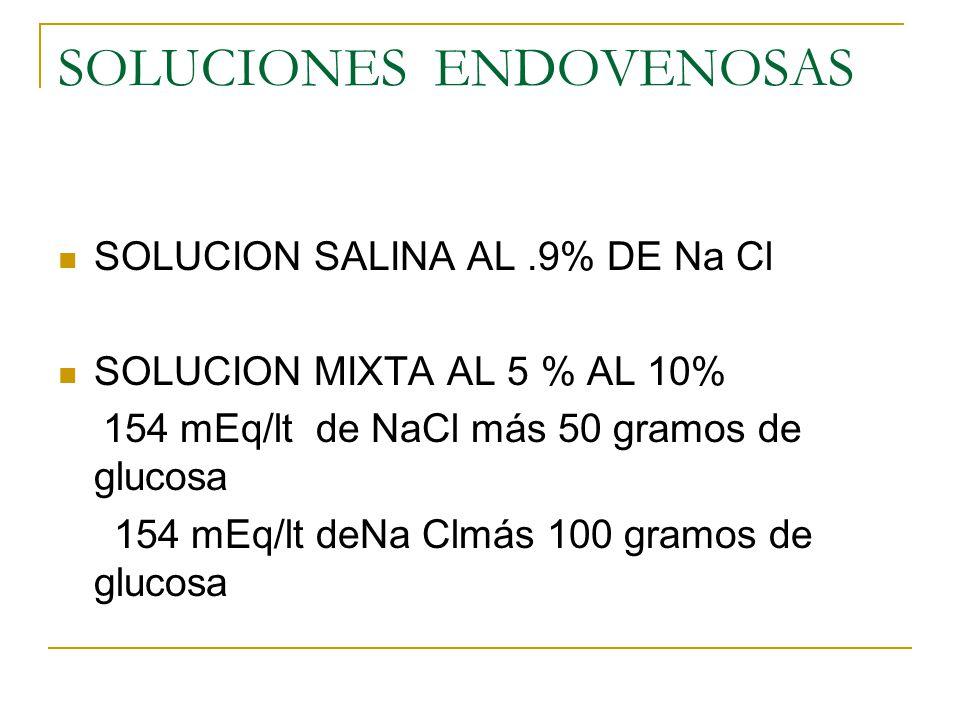 SOLUCIONES ENDOVENOSAS SOLUCION SALINA AL.9% DE Na Cl SOLUCION MIXTA AL 5 % AL 10% 154 mEq/lt de NaCl más 50 gramos de glucosa 154 mEq/lt deNa Clmás 1