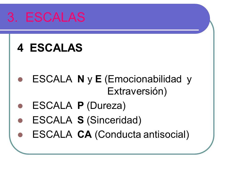 3. ESCALAS 4 ESCALAS ESCALA N y E (Emocionabilidad y Extraversión) ESCALA P (Dureza) ESCALA S (Sinceridad) ESCALA CA (Conducta antisocial)