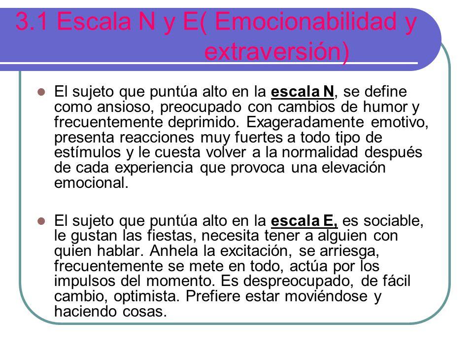 3.1 Escala N y E( Emocionabilidad y extraversión) El sujeto que puntúa alto en la escala N, se define como ansioso, preocupado con cambios de humor y frecuentemente deprimido.