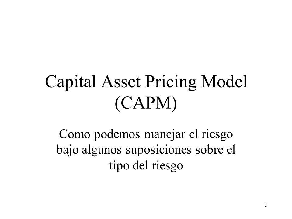 1 Capital Asset Pricing Model (CAPM) Como podemos manejar el riesgo bajo algunos suposiciones sobre el tipo del riesgo