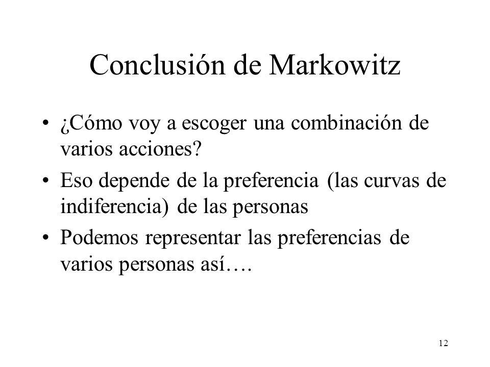 12 Conclusión de Markowitz ¿Cómo voy a escoger una combinación de varios acciones? Eso depende de la preferencia (las curvas de indiferencia) de las p