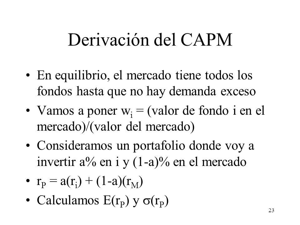 23 Derivación del CAPM En equilibrio, el mercado tiene todos los fondos hasta que no hay demanda exceso Vamos a poner w i = (valor de fondo i en el me
