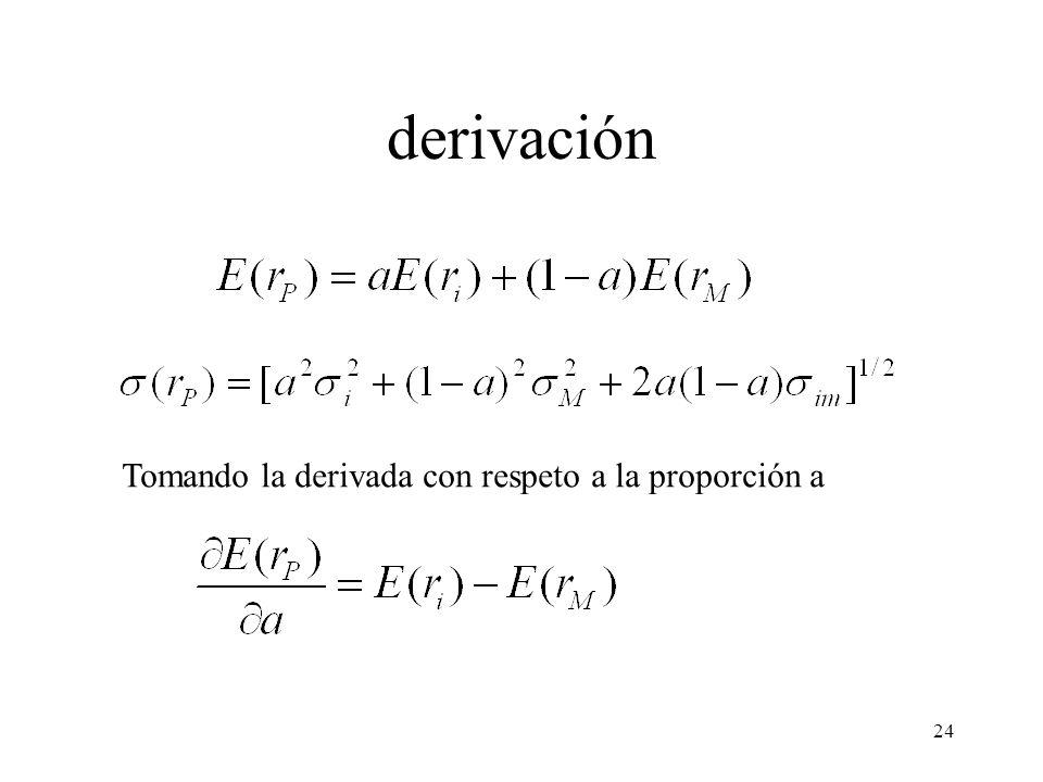 24 derivación Tomando la derivada con respeto a la proporción a