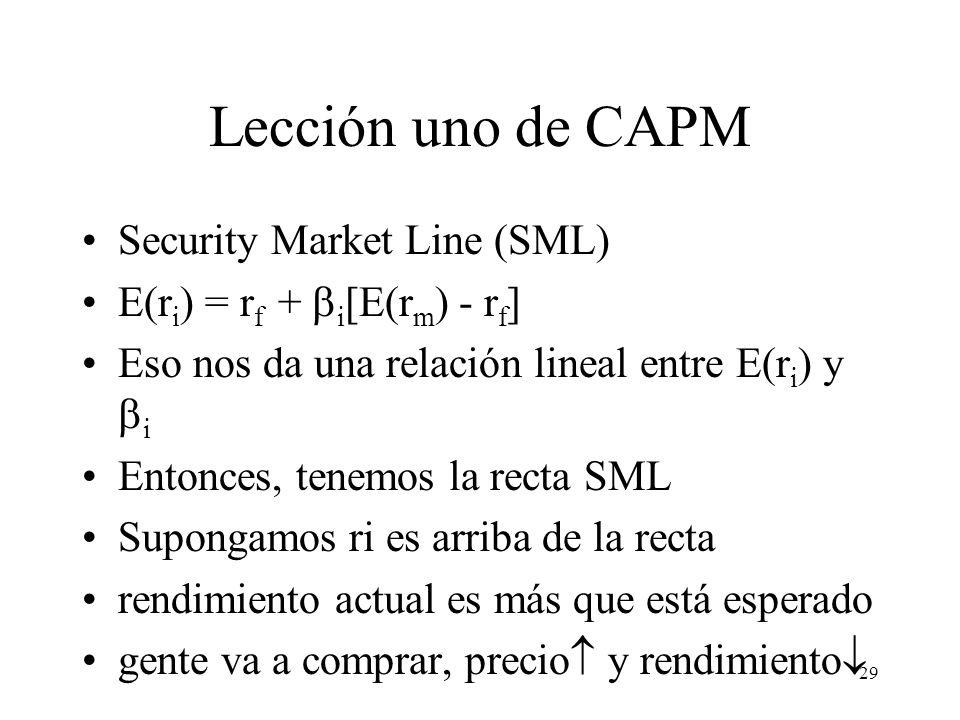 29 Lección uno de CAPM Security Market Line (SML) E(r i ) = r f +  i [E(r m ) - r f ] Eso nos da una relación lineal entre E(r i ) y  i Entonces, te