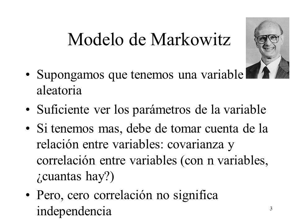3 Modelo de Markowitz Supongamos que tenemos una variable aleatoria Suficiente ver los parámetros de la variable Si tenemos mas, debe de tomar cuenta