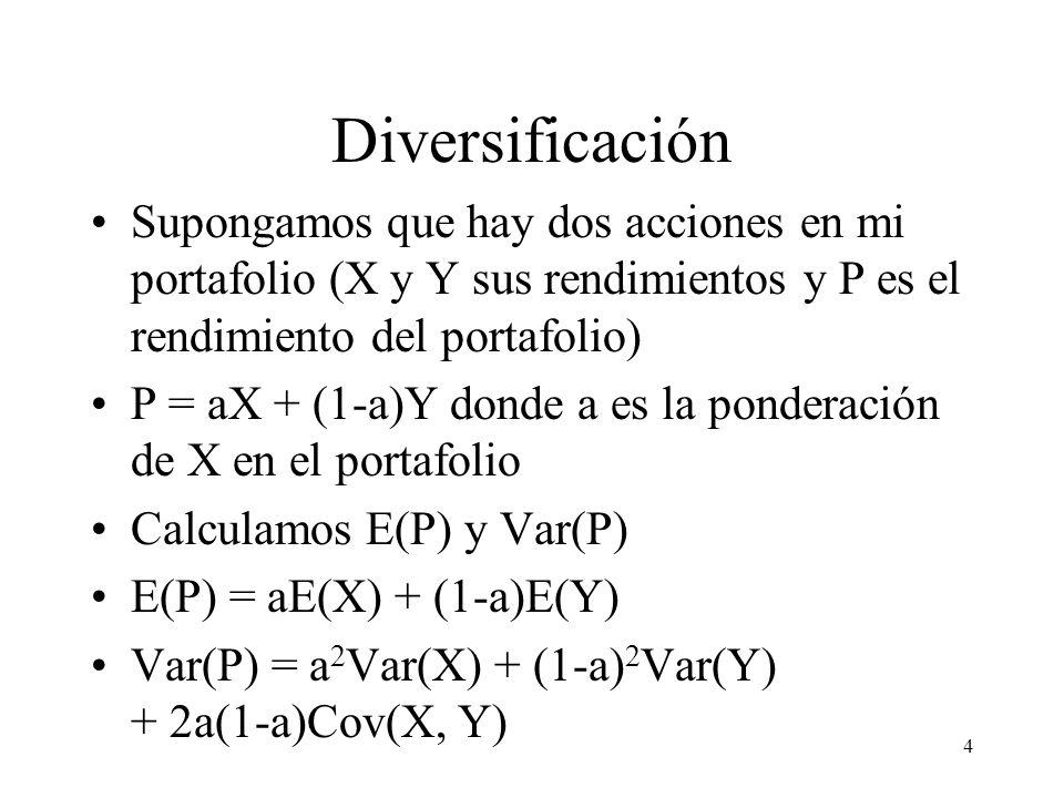 4 Diversificación Supongamos que hay dos acciones en mi portafolio (X y Y sus rendimientos y P es el rendimiento del portafolio) P = aX + (1-a)Y donde