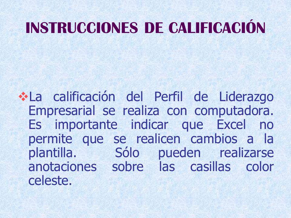 INSTRUCCIONES DE CALIFICACIÓN  La calificación del Perfil de Liderazgo Empresarial se realiza con computadora.
