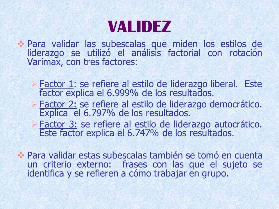 VALIDEZ  Para validar las subescalas que miden los estilos de liderazgo se utilizó el análisis factorial con rotación Varimax, con tres factores:  Factor 1: se refiere al estilo de liderazgo liberal.