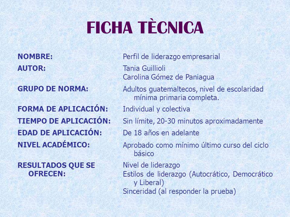FICHA TÈCNICA NOMBRE:Perfil de liderazgo empresarial AUTOR:Tania Guillioli Carolina Gómez de Paniagua GRUPO DE NORMA:Adultos guatemaltecos, nivel de escolaridad mínima primaria completa.