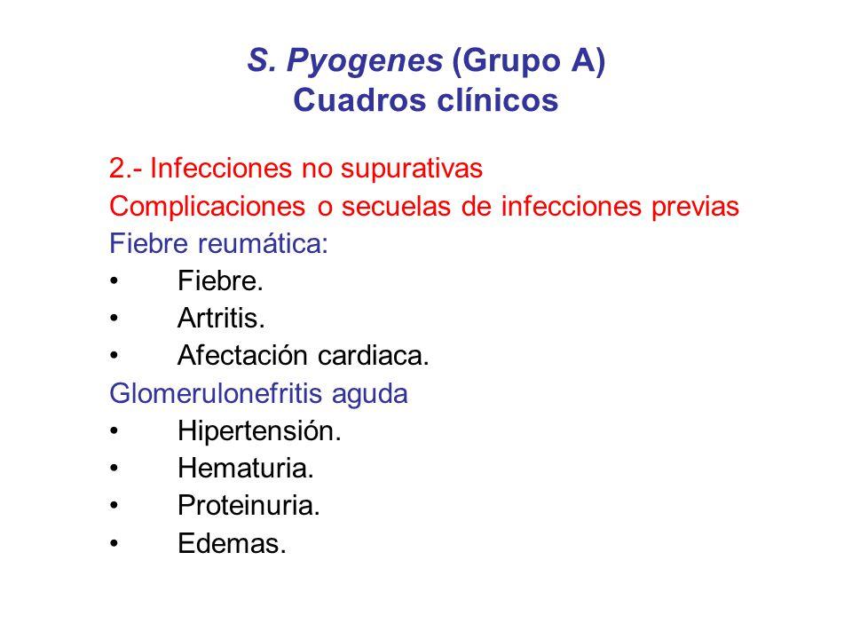 S. Pyogenes (Grupo A) Cuadros clínicos 2.- Infecciones no supurativas Complicaciones o secuelas de infecciones previas Fiebre reumática: Fiebre. Artri