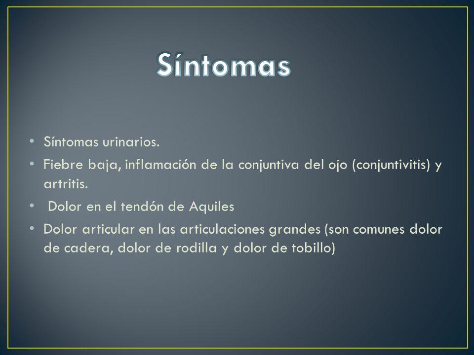 Síntomas urinarios.Fiebre baja, inflamación de la conjuntiva del ojo (conjuntivitis) y artritis.