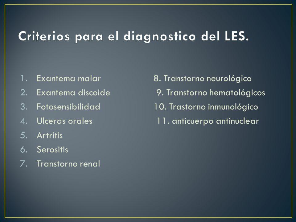 1.Exantema malar 2.Exantema discoide 3.Fotosensibilidad 4.Ulceras orales 5.Artritis 6.Serositis 7.Transtorno renal 8.