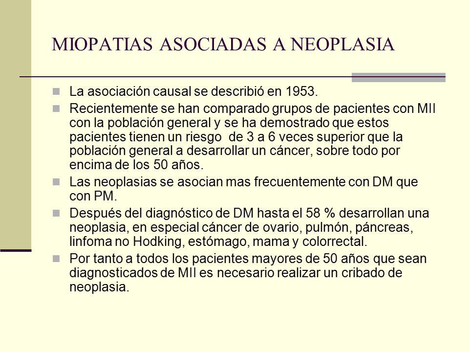 MIOPATIAS ASOCIADAS A NEOPLASIA La asociación causal se describió en 1953. Recientemente se han comparado grupos de pacientes con MII con la población