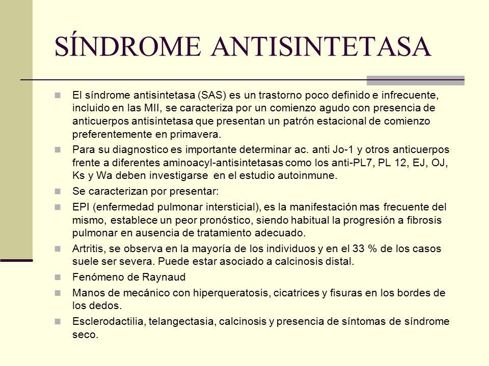 SÍNDROME ANTISINTETASA El síndrome antisintetasa (SAS) es un trastorno poco definido e infrecuente, incluido en las MII, se caracteriza por un comienz