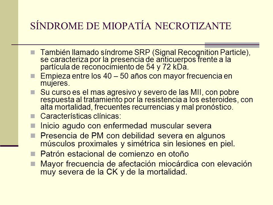 SÍNDROME DE MIOPATÍA NECROTIZANTE También llamado síndrome SRP (Signal Recognition Particle), se caracteriza por la presencia de anticuerpos frente a la partícula de reconocimiento de 54 y 72 kDa.