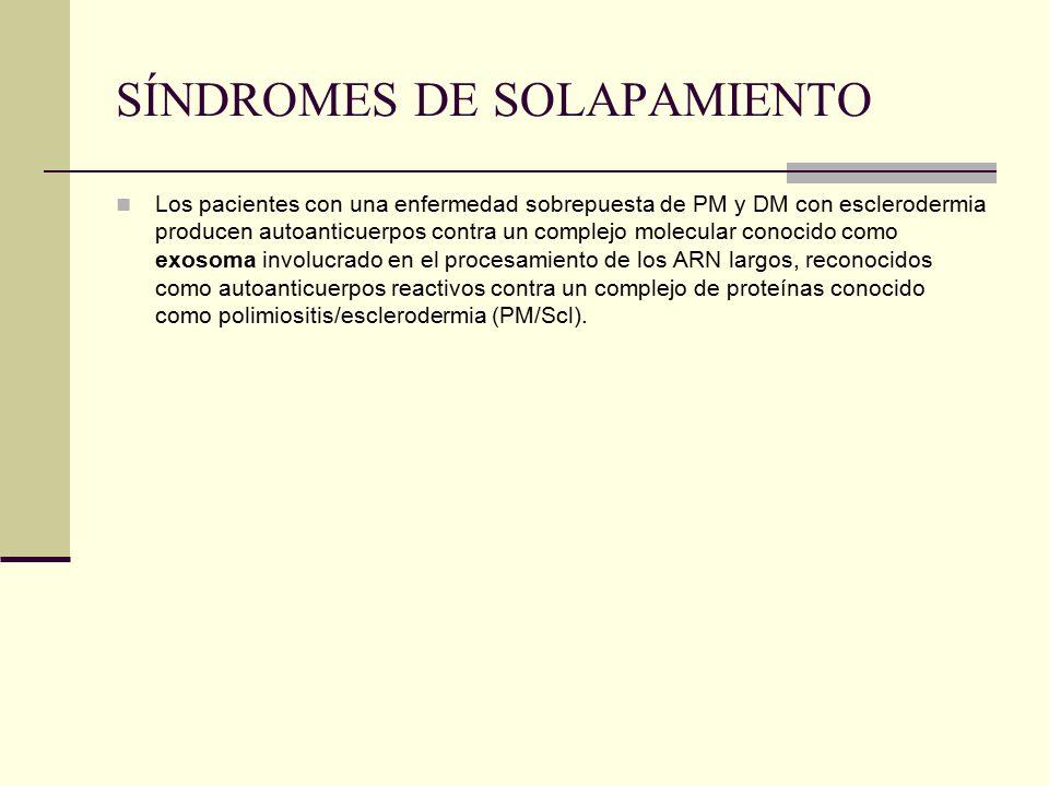 SÍNDROMES DE SOLAPAMIENTO Los pacientes con una enfermedad sobrepuesta de PM y DM con esclerodermia producen autoanticuerpos contra un complejo molecular conocido como exosoma involucrado en el procesamiento de los ARN largos, reconocidos como autoanticuerpos reactivos contra un complejo de proteínas conocido como polimiositis/esclerodermia (PM/Scl).
