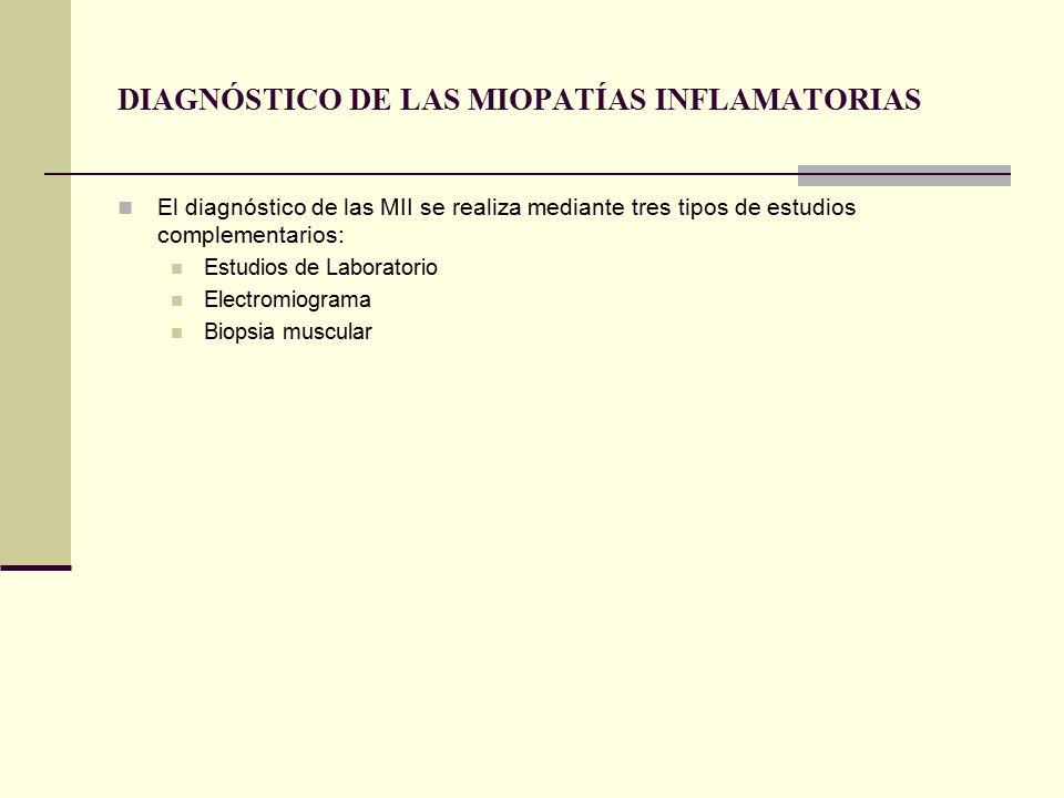 DIAGNÓSTICO DE LAS MIOPATÍAS INFLAMATORIAS El diagnóstico de las MII se realiza mediante tres tipos de estudios complementarios: Estudios de Laboratorio Electromiograma Biopsia muscular
